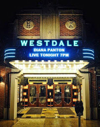 The front new entrance and marquee of the refurbished Westdale Theatre.