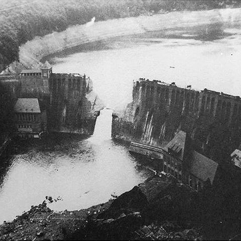 Picture showing the breach in the Eder dam a few days after the raid.