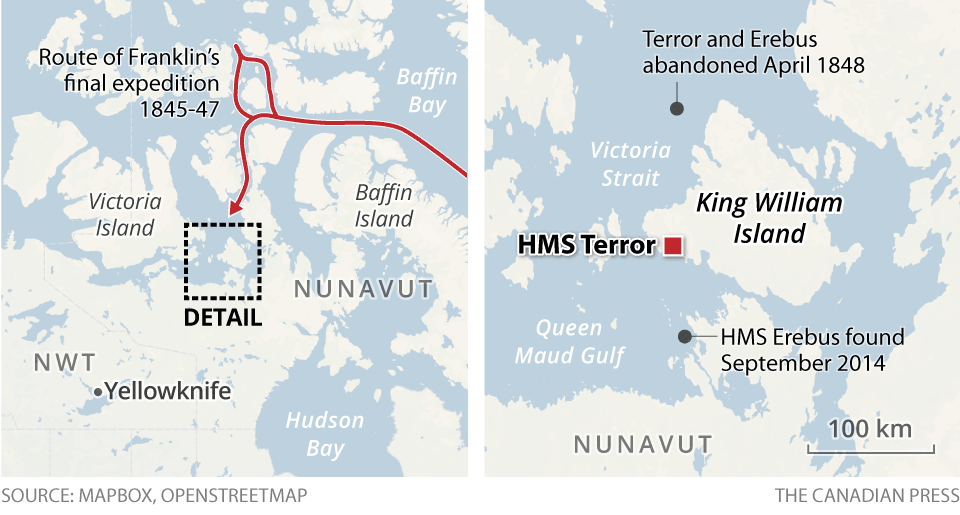 Maps showing where the Erebus and Terror were located.